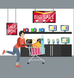 Woman shopping in hardware store vector