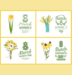womens day greeting postcard with flowers vector image