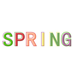 Word spring minimalistic style colorful letters vector