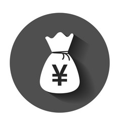 Yen yuan bag money currency icon in flat style vector