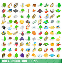 100 agriculture icons set isometric 3d style vector image