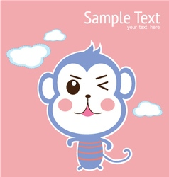 baby card with cute monkey vector image vector image