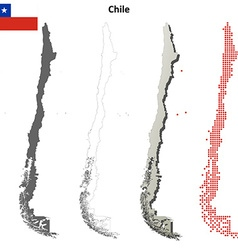 Chile outline map set vector