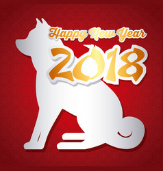 chinese happy new year of the dog greeting card vector image