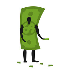 money mascot man promoter male in dollar costume vector image vector image
