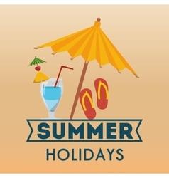 summer holidays beach umbrella flip flop cocktail vector image vector image