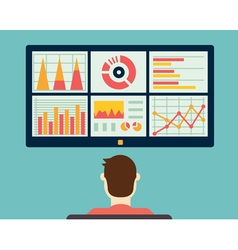 Analysis of information on the dashboard vector image
