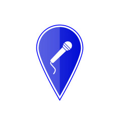 blue map pointer with microphone vector image