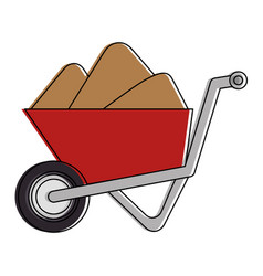 wheelbarrow construction with sand vector image
