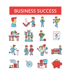 business success thin line icons vector image
