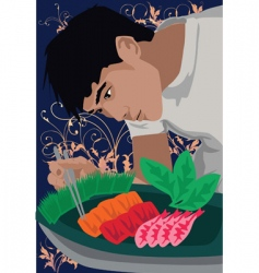 chef make food vector image vector image