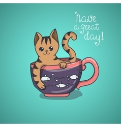 Have a nice day cute cat doodle vector image
