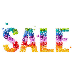 Sale text with butterfly vector