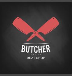 butcher meat shop logo design retro butcher shop vector image