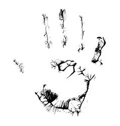 fat human hand imprint on black vertical vector image