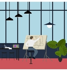 main architect working at drawing desk in office vector image vector image