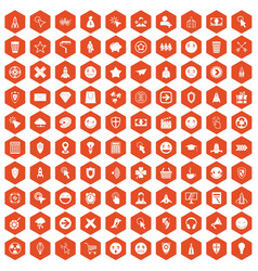 100 interface pictogram icons hexagon orange vector