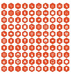 100 interface pictogram icons hexagon orange vector image