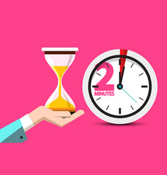 2 minutes hourglass time symbol 2 minute counter vector