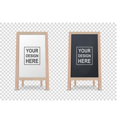 3d realistic blank white and black wooden vector image