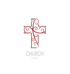 abstract christian cross logo template vector image