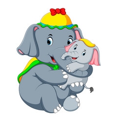an elephant wearing a yellow hat and playing vector image