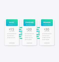 banner for tariffs pricing table and boxes vector image