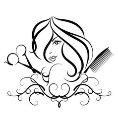 Beauty salon profile of a girl vector
