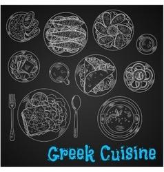 Blackboard menu chalk sketched greek dishes vector