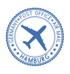 Blue round hamburg postmark for envelope vector