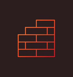 Brick wall concept linear colored icon or vector