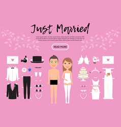 Bride and groom characters constructor template vector