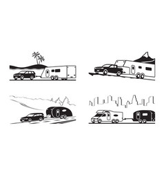 Cars with caravans and camper vector
