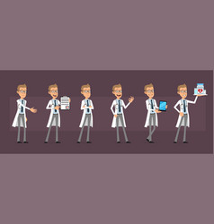 cartoon doctor or scientist character set vector image