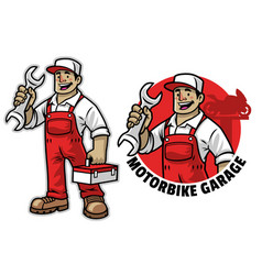 cartoon happy mechanic mascot vector image