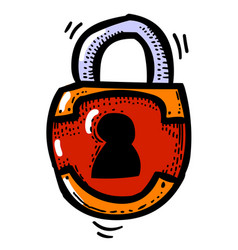 cartoon image of lock icon lock symbol vector image