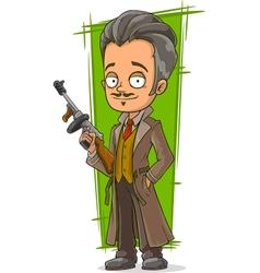 Cartoon smart detective in coat vector image