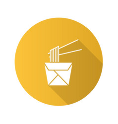 chinese noodles in paper box and chopsticks flat vector image