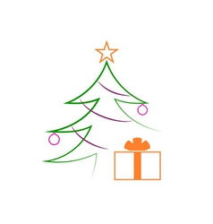 Christmas tree gifts flat isolated vector