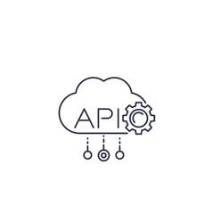 Cloud api software integration line icon vector