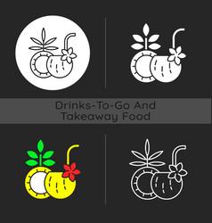 coconut cocktail dark theme icon vector image