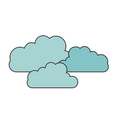 Color sketch silhouette set cloud shape in cumulus vector