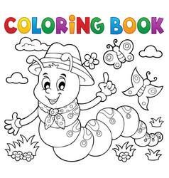 coloring book happy caterpillar 1 vector image