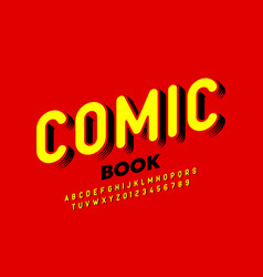 comic book style font alphabet letters and numbers vector image