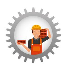 construction worker carrying bricks inside gear vector image