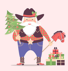 cowboy santa claus in western hat and holiday vector image