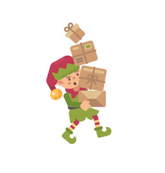 cute busy christmas elf carrying parcels with vector image