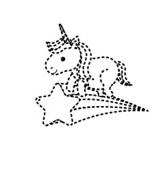 Dotted shape nice unicorn with horn and shooting vector