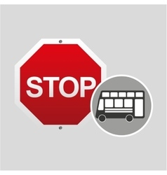 Double decker bus stop road sign design vector