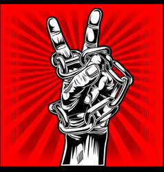 Drawing hand protest freedom red change peace vector